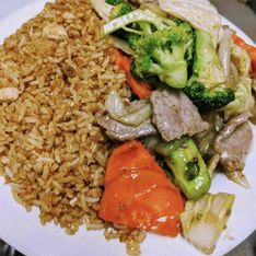rice, meat and vegetables