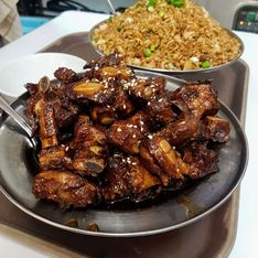 honey garlic spare ribs and fried rice