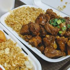 juicy meat with rice